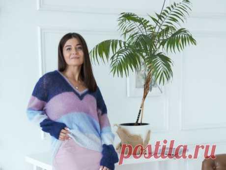 Пуловер с V образным вырезом. Часть I | Журнал Ярмарки Мастеров