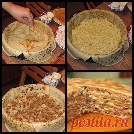 Блинный пирог с курицей и грибами - рецепт к масленице.