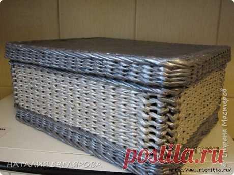 прямоугольная коробочка из бумажных трубочек
