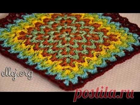 Вязание крючком. Техника Барджелло. Bargello Crochet Tutorial.