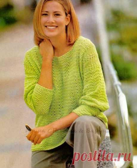Пуловер цвета киви. Крючок