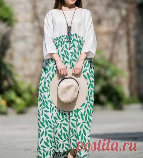 Women's summer Plus size long dress, Loose Fitting long maxi dress, boho maxi dress, Prom dress 【Fabric】 cotton, linen 【Color】 green 【Size】 M: shoulder width is not limited Shoulder + Sleeve 47cm / 18 Cuff circumference 29cm / 11.3 Bust 130cm / 51 Length 122cm / 47  L: shoulder width is not limited Shoulder + Sleeve 49cm / 19 Cuff circumference 31cm / 12 Bust 130cm / 51 Length 132cm / 51  Have