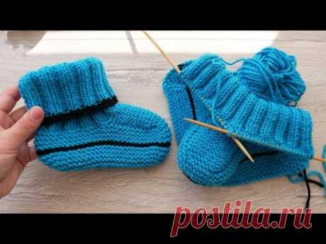 Следки – сапожки ДЕТСКИЕ спицами 👫 Knitted Slippers for KIDS