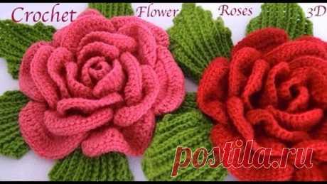 Como hacer flores Rosas gigantes 3D con hojas a Crochet paso a paso tejido tallermanualperu