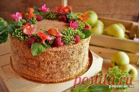 Мягкий медовик со сметанным кремом и яблоками - рецепт с фото / Рецептик.su