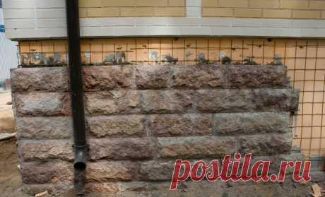 Отделка фундамента камнем своими руками: природные, искусственные материалы, видео, фото
