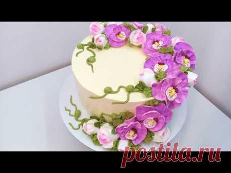 Торт с Орхидеями(крем БЗК). /Cake with Orchids(protein custard).