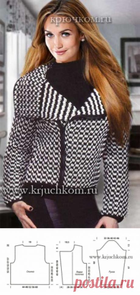 Модная вязаная кофта-куртка