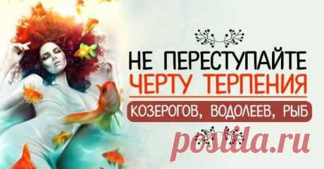 Никогда не переступайте черту терпения Рыб, Козерогов, Водолеев после которой уже не будет ничего и никогда