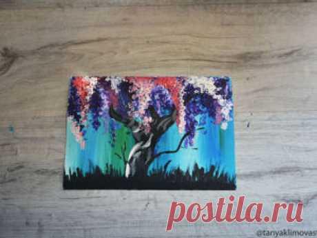 Рисуем цветущее дерево с помощью ватных палочек | Журнал Ярмарки Мастеров Рисуем цветущее дерево с помощью ватных палочек – бесплатный мастер-класс по теме: Tворим с детьми ✓Своими руками ✓Пошагово ✓С фото