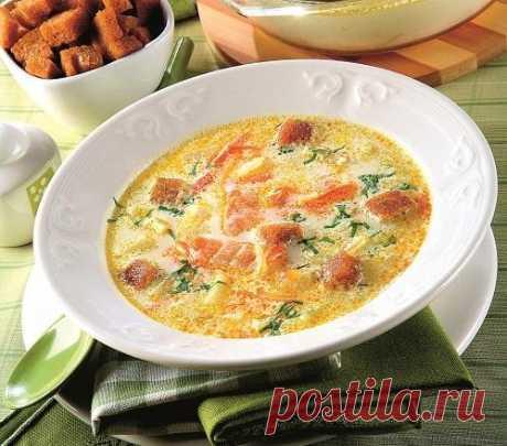 Рыбный суп с красной рыбой и плавленным сыром. Рецепт с фото