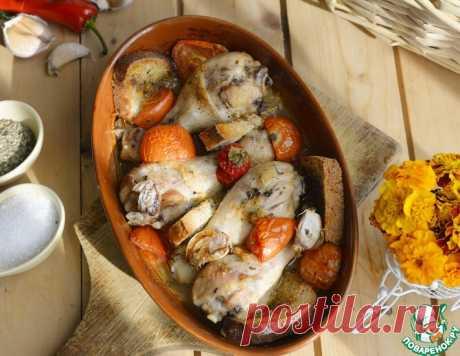 Ароматная курица, запечённая с хлебом – кулинарный рецепт
