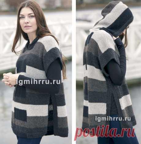 Gray-black tunic poncho with a hood. Spokes. \/ igmihrru.ru