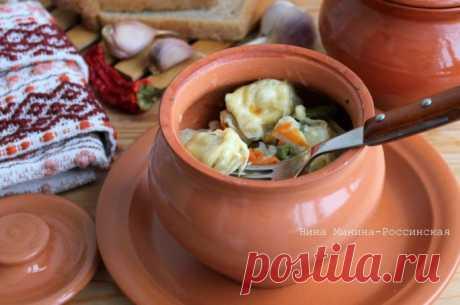 Нарядное и очень вкусное блюдо — пельмени в горшочках