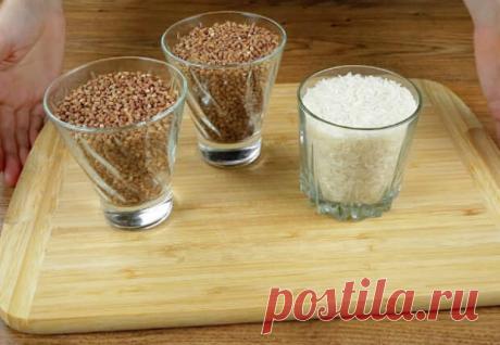 Смешиваем два стакана гречки и стакан риса: фрикадельки почти из ничего