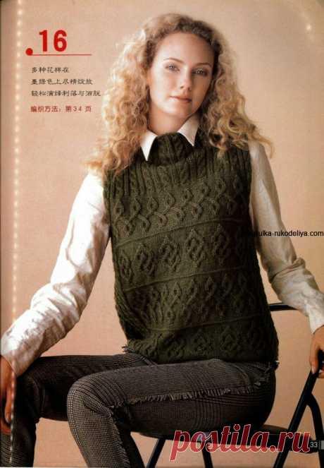 Зимнее вязание спицами для женщин. Темно зеленый жилет аранами | Шкатулка рукоделия. Сайт для рукодельниц.