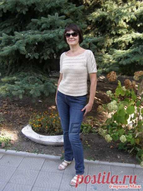 Летний ажурный пуловер регланом спицами - Вязание - Страна Мам