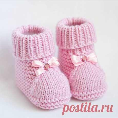 Пинетки для новорожденных на двух спицах | Lanita о вязании | Яндекс Дзен