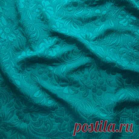 """Костюмная ткань мателасе """"Ромашки"""" (бирюзовый) - купить ткань онлайн через интернет-магазин ВСЕ ТКАНИ"""