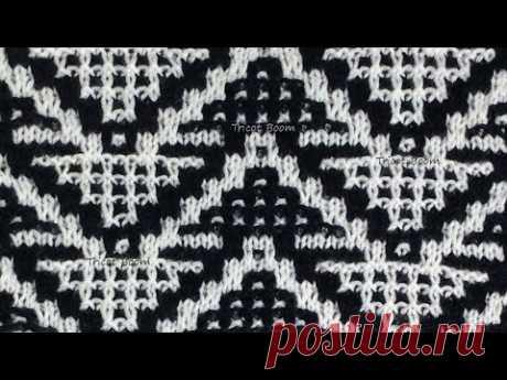 """Узор """"Треугольники"""" / Мозаика и ленивый жаккард / Вязание спицами."""