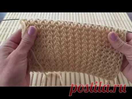 Шикарная резинка для шапок и не только, с вытянутыми петлями. Вязание спицами.