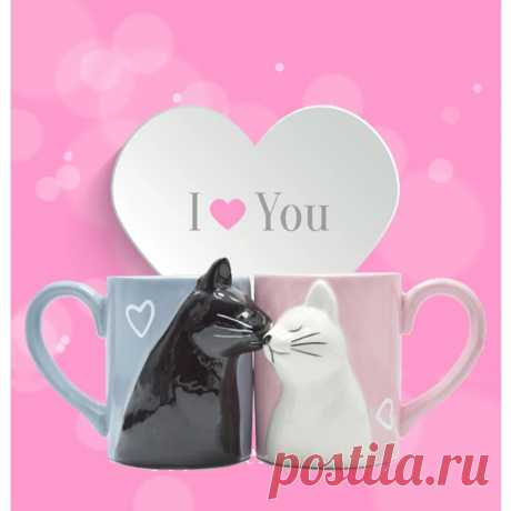 2 шт. Роскошная чашка в виде кошки Kiss, Пара керамических кружек, для пар, на годовщину, утро, кружка, молоко, кофе, чай, завтрак, День святого Валентина Кружки    АлиЭкспресс
