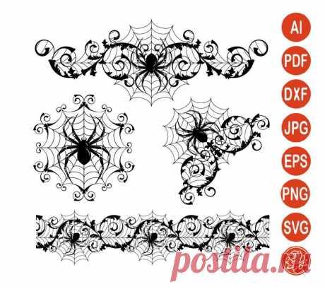 Spider Web SVG Halloween Spider Clipart DXF Border & Corner   Etsy