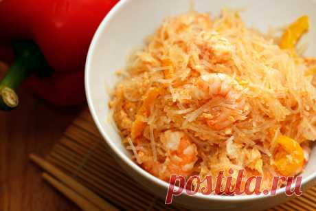 «Стеклянная» лапша с креветками, готовить быстро, съедается мгновенно;)) — Вкусные рецепты