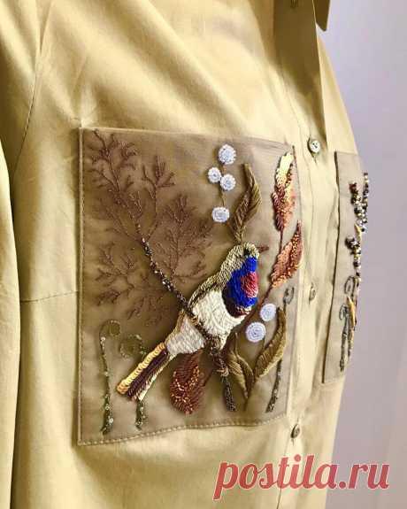Авторская вышивка Нади Пантелеевой, преображающая одежду | НЕСКУЧНАЯ ВЫШИВКА | Яндекс Дзен