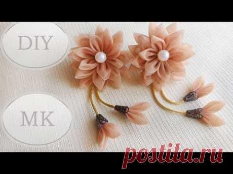 Резинки для волос из остатков тюли МК 🌺 DIY Scrunchy with Kanzashi flowers 🌺 - YouTube