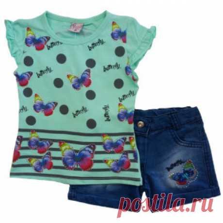Комплект на девочку ментоловый с бабочками (шорты и футболка) – Цена 1341 руб. Купить в интернет-магазине детской одежды MiMi Kid