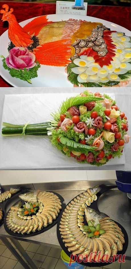 Идеи оформления праздничных блюд и нарезки.