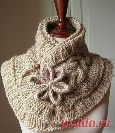 Объемный тёплый шарф спицами из категории Интересные идеи – Вязаные идеи, идеи для вязания