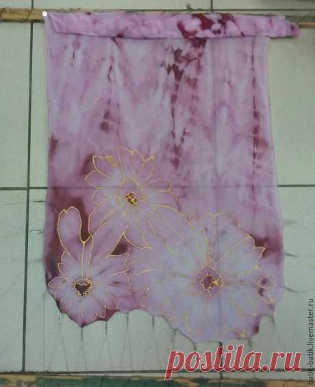 Мастер-класс: расписной шифоновый шарф «Цветущая фуксия» за два дня