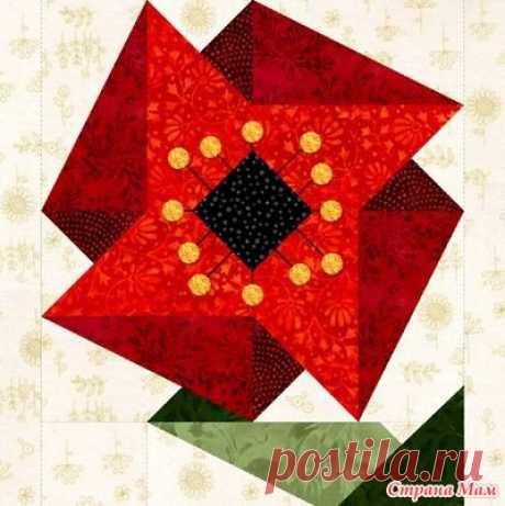 Оригинальное лоскутное одеяло собрано из 12 цветочных блоков. - Клуб рукоделия - Страна Мам