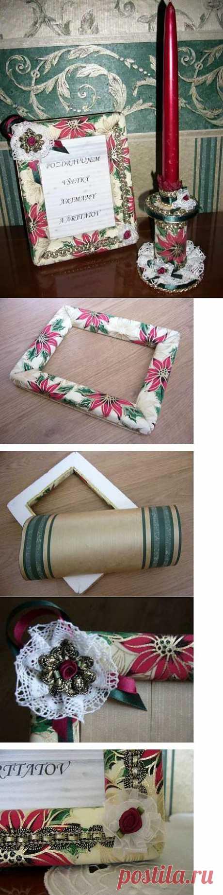 Рамочка из пенопласта и подсвечник из картона. Отличная идея с мастер-классом.