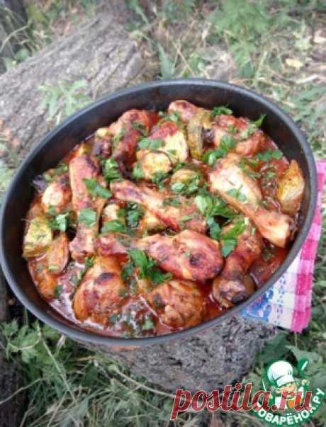 Куриные голени, запеченные с овощами - кулинарный рецепт