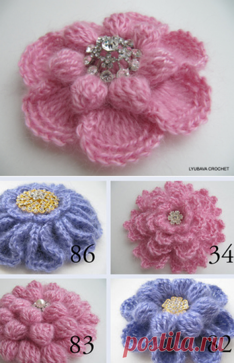 Crochet Flower PATTERN Crochet Brooch Pattern 3d Flower DIY