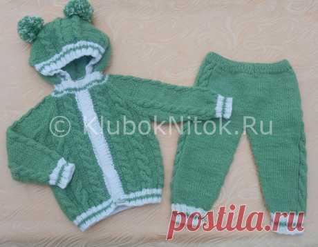 Зеленый костюмчик | Вязание для детей | Вязание спицами и крючком. Схемы вязания.