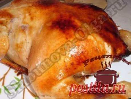 Курица запеченная целиком в духовке. Рецепт. Фото