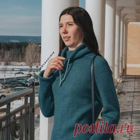 Описание вязания женского свитера-худи регланом спицами. Часть 1. | Ксения Kukanchik | Яндекс Дзен