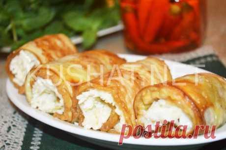 Рулетики из баклажанов с сыром и чесноком. Рецепт с фото • Кушать нет