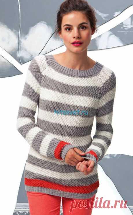 Модный полосатый пуловер спицами - Хитсовет Модный полосатый пуловер спицами. Вам потребуется: пряжа LANG YARNS MOINA (вискоза, полиамид, шелк) 300/300/350/400 г