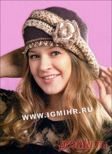 Шляпка с отворотом и цветком для романтической леди. Крючок