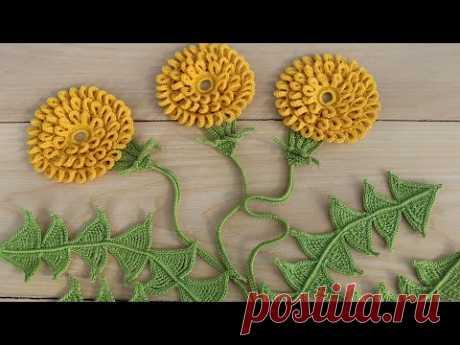 СТЕБЕЛЁК для цветка ВЯЗАНИЕ КРЮЧКОМ мастер-класс ЭЛЕМЕНТ ирландского кружева Crochet flower tutorial