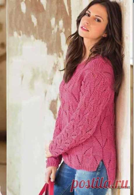 Пуловер с рельефным узором. Вязание спицами