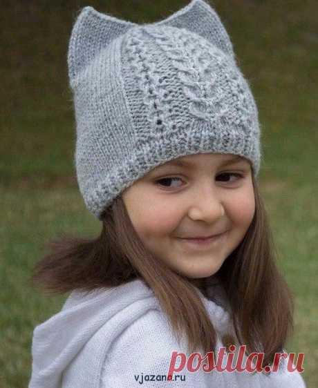 Связать шапку с ушками для девочки спицами возраст 6-7 лет | Вязана.ru