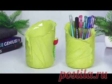 Lotus Shape pen holder Making at Home    Cement pen holder - Easy flower vase making