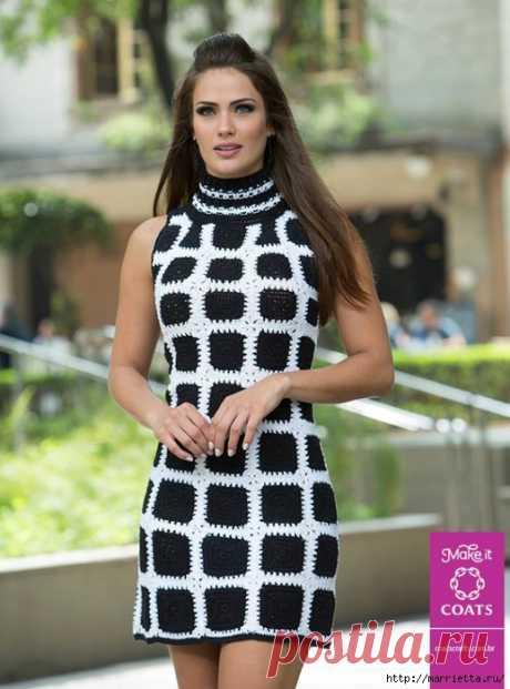 Стильное летнее платье крючком из черных квадратов с белой обвязкой  Смотрится очень стильно.    Пряжа : Camila Fashion Line 500 м., 2 мотка черного цвета и 2 мотка белого цвета. Крючок. 1,25 Вяжется 36 мотивов по схеме 1. 42 мотива по схеме 2.  8 мотивов по схеме 3. …