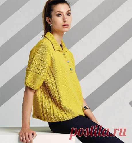 Кофточка-поло с коротким рукавом - Klubok.ru.com